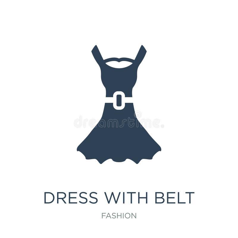 vestido con el icono de la correa en estilo de moda del diseño vestido con el icono de la correa aislado en el fondo blanco vesti ilustración del vector
