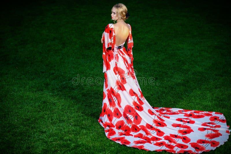 Vestido con las flores rojas fotos de archivo
