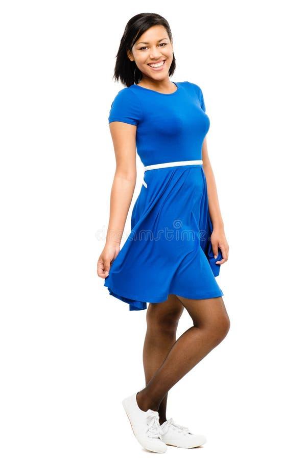 Vestido consideravelmente azul misturado 'sexy' da mulher da raça isolado no backgr branco fotos de stock royalty free