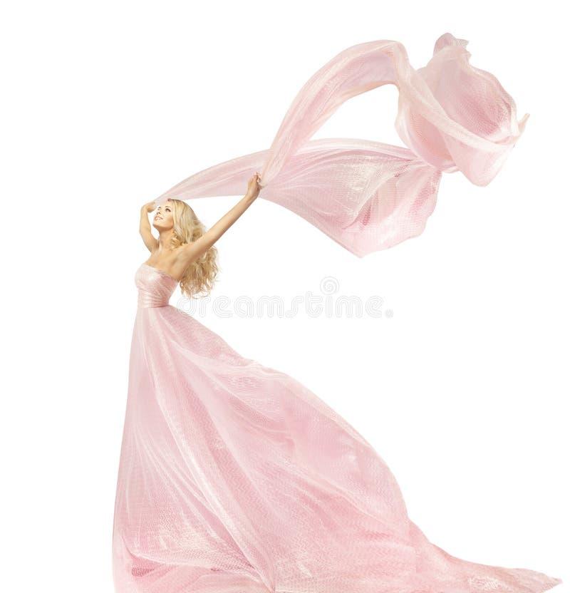 Vestido da forma da beleza da mulher, menina no vestido de seda que acena no vento fotografia de stock
