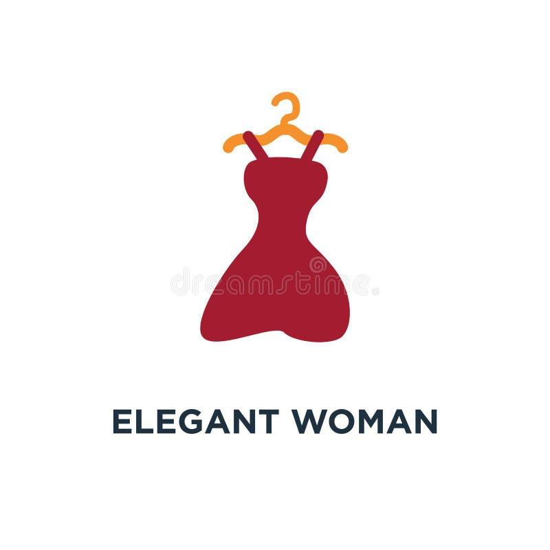 vestido da mulher elegante, ícone fêmea da roupa estilo bonito da senhora ilustração royalty free