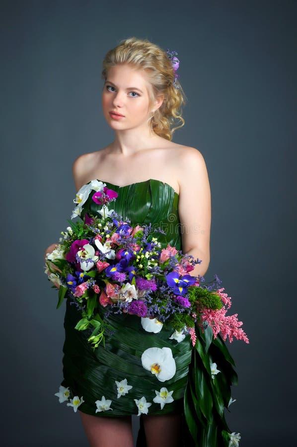 Vestido das flores imagens de stock