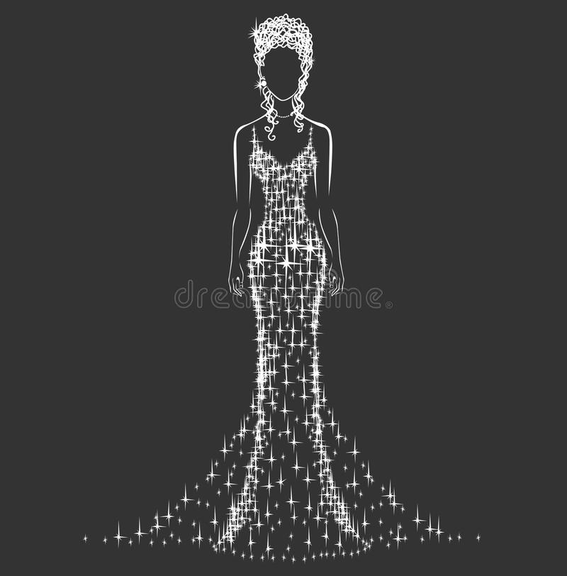 Vestido de boda brillante libre illustration
