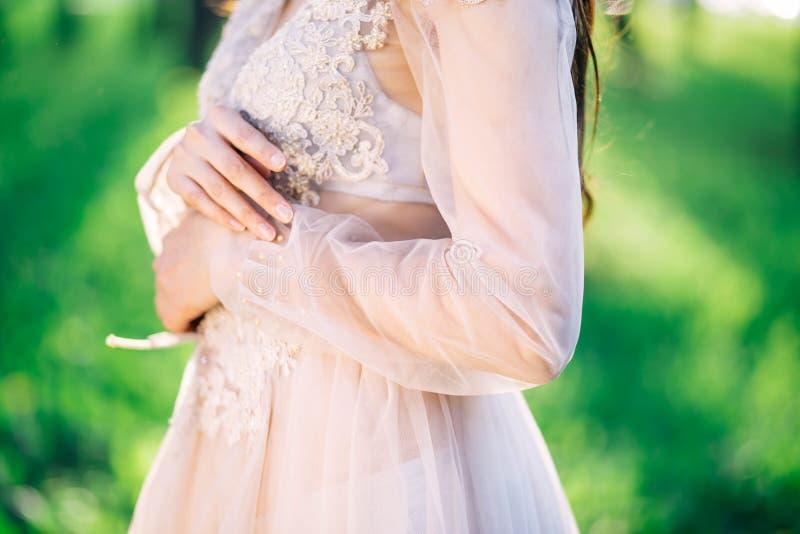 Vestido de boda delicado hermoso del cordón, modelos hechos a mano, de costuras, forma hermosa de la muchacha linda, primer, novi imagen de archivo libre de regalías