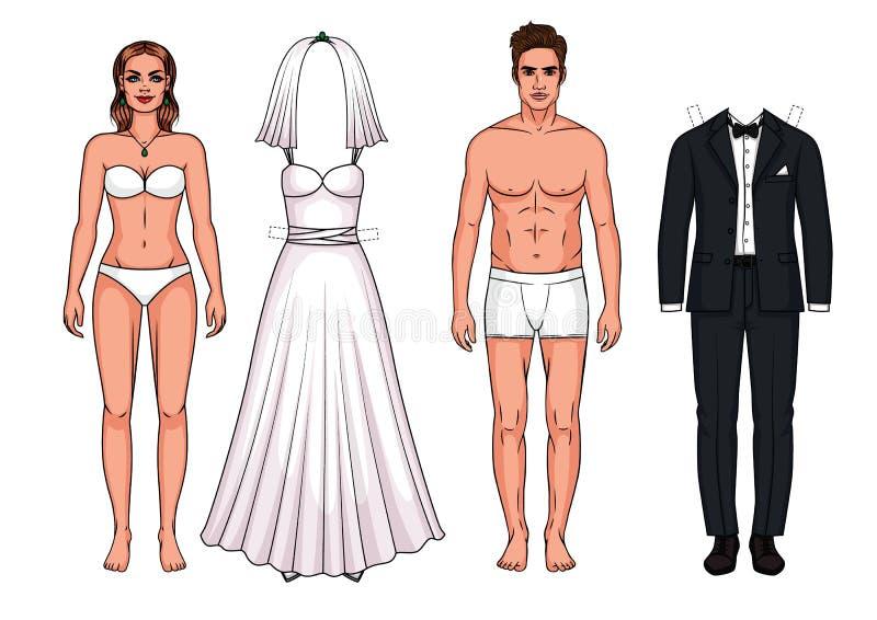 Vestido de boda y traje de la boda para la novia y el novio ilustración del vector