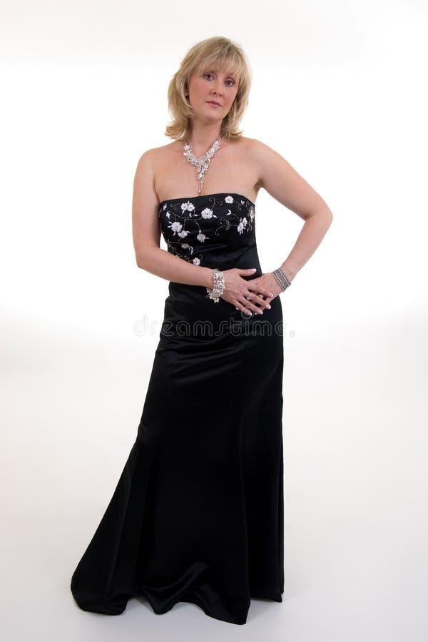 Vestido de bola negro fotografía de archivo