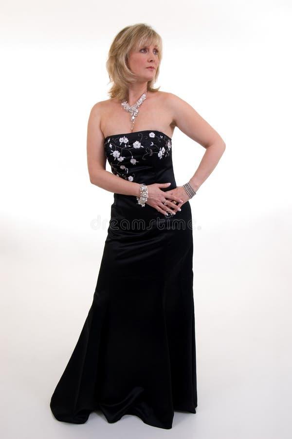 Vestido de bola negro fotografía de archivo libre de regalías