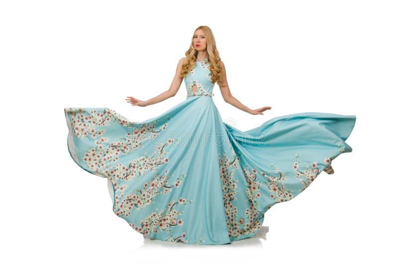 Vestido de bola vestindo da mulher isolado imagem de stock royalty free