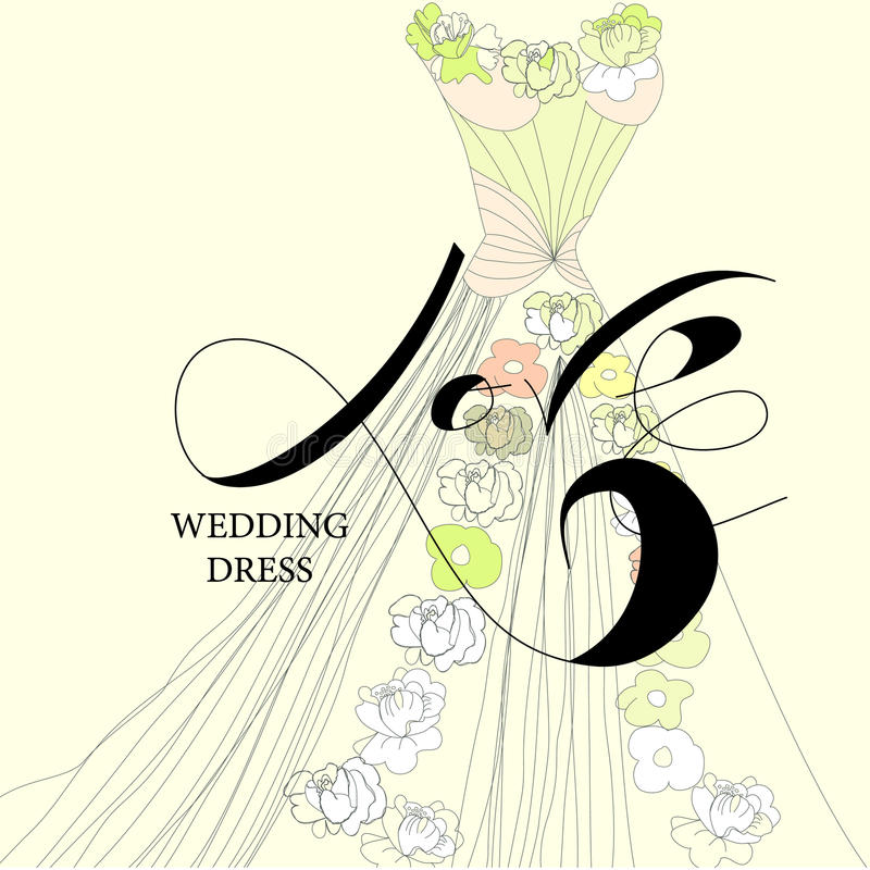 Download Vestido de casamento ilustração do vetor. Ilustração de calligraphy - 16859977