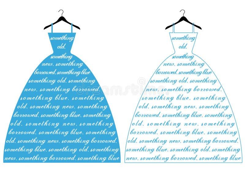 Vestido de casamento azul, vetor ilustração royalty free