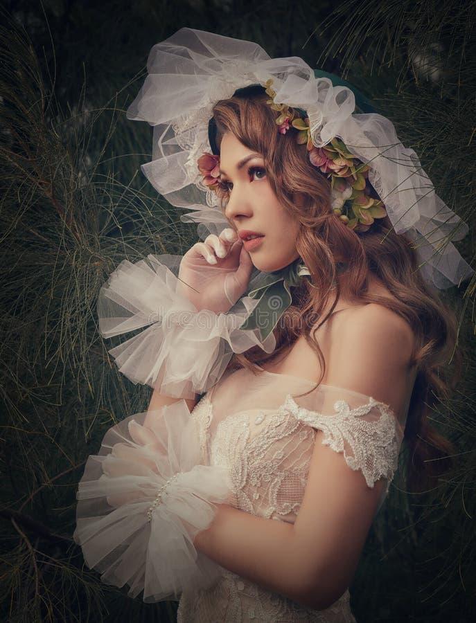 Vestido de casamento europeu do modelo de forma fotografia de stock
