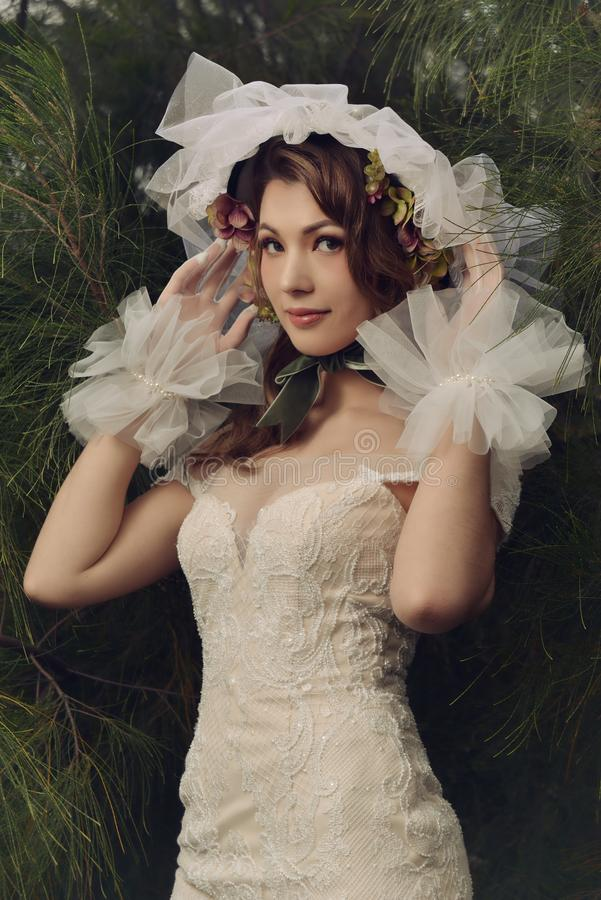 Vestido de casamento europeu do modelo de forma foto de stock royalty free