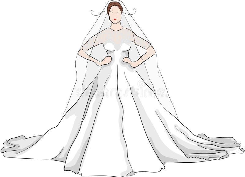 Vestido de casamento magnífico do esboço com bordos vermelhos ilustração royalty free