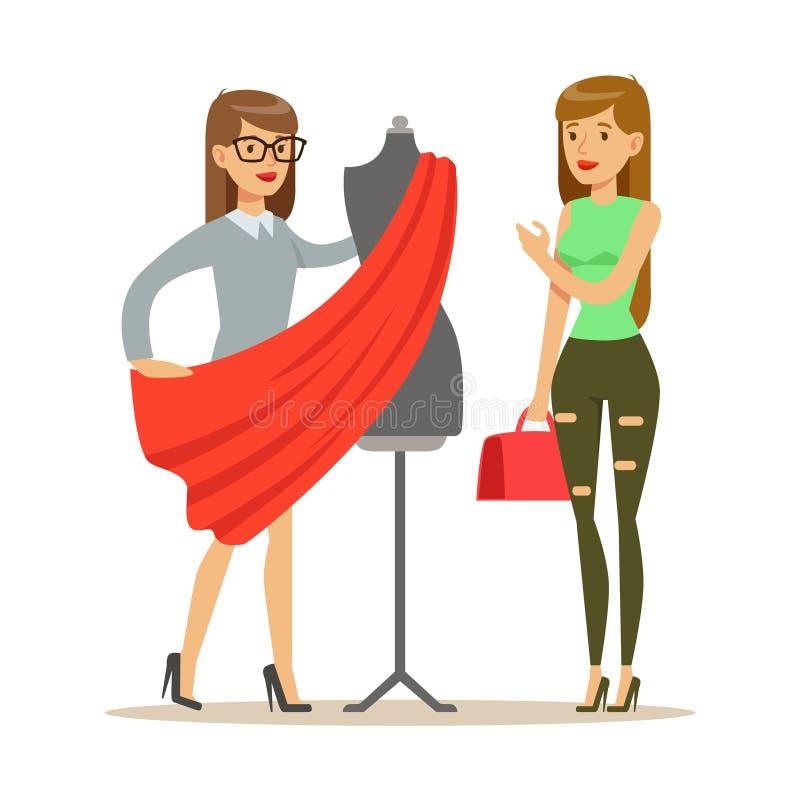 Vestido de Choosing Fabric For de la mujer y del diseñador, parte de gente que usa la adaptación y sistema del servicio profesion libre illustration