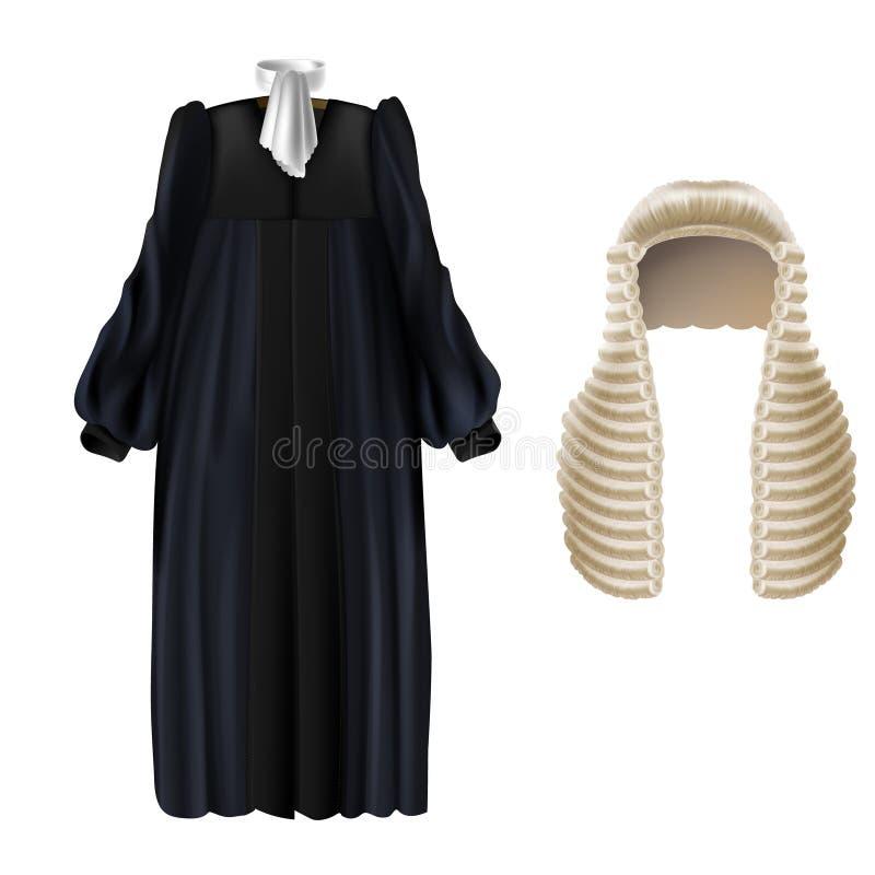 Vestido de corte del negro del vector y peluca larga para los jueces ilustración del vector