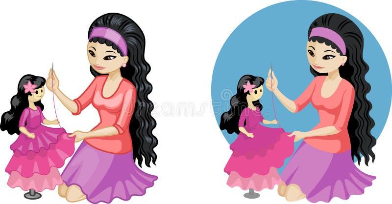 Vestido de costura del aficionado asiático joven lindo de la mujer para stock de ilustración