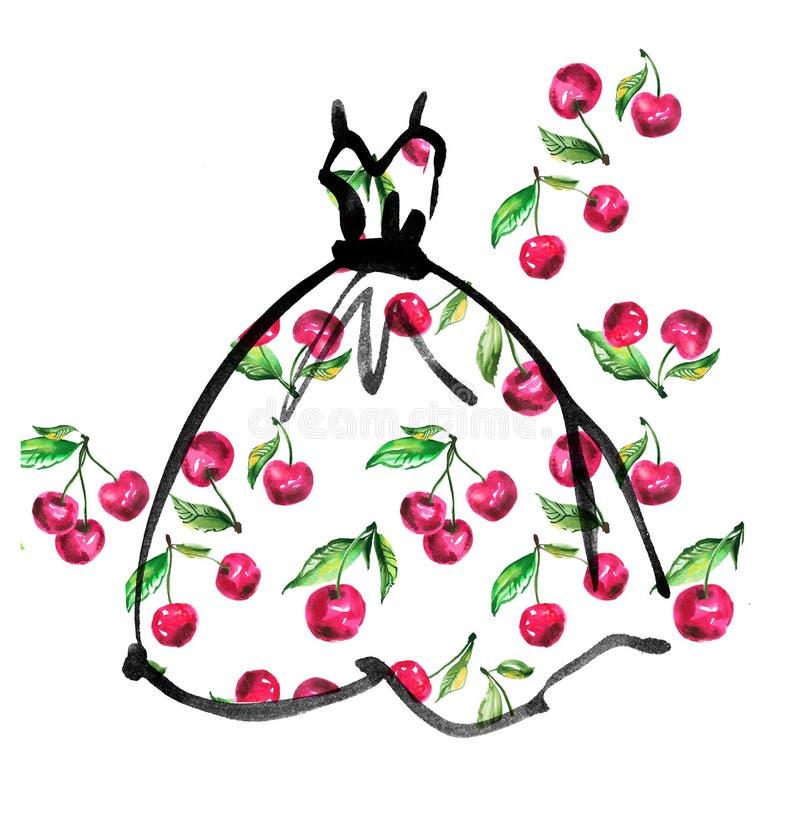 Vestido de fantasia com teste padrão floral ilustração royalty free