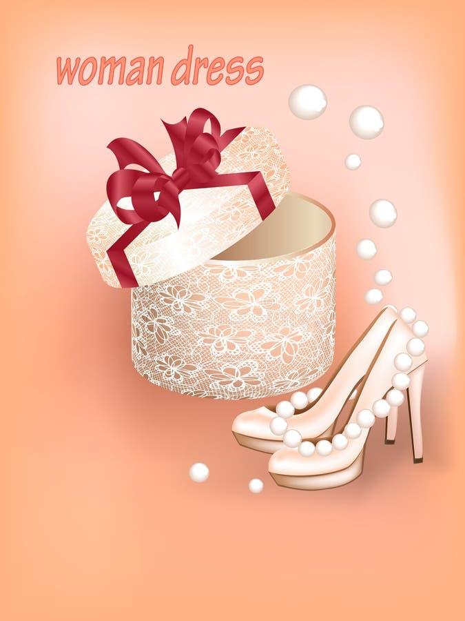 vestido de la mujer con los zapatos stock de ilustración