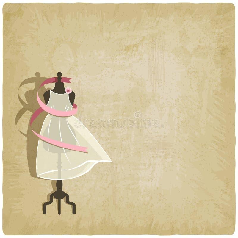 Vestido de la novia en viejo fondo de papel stock de ilustración