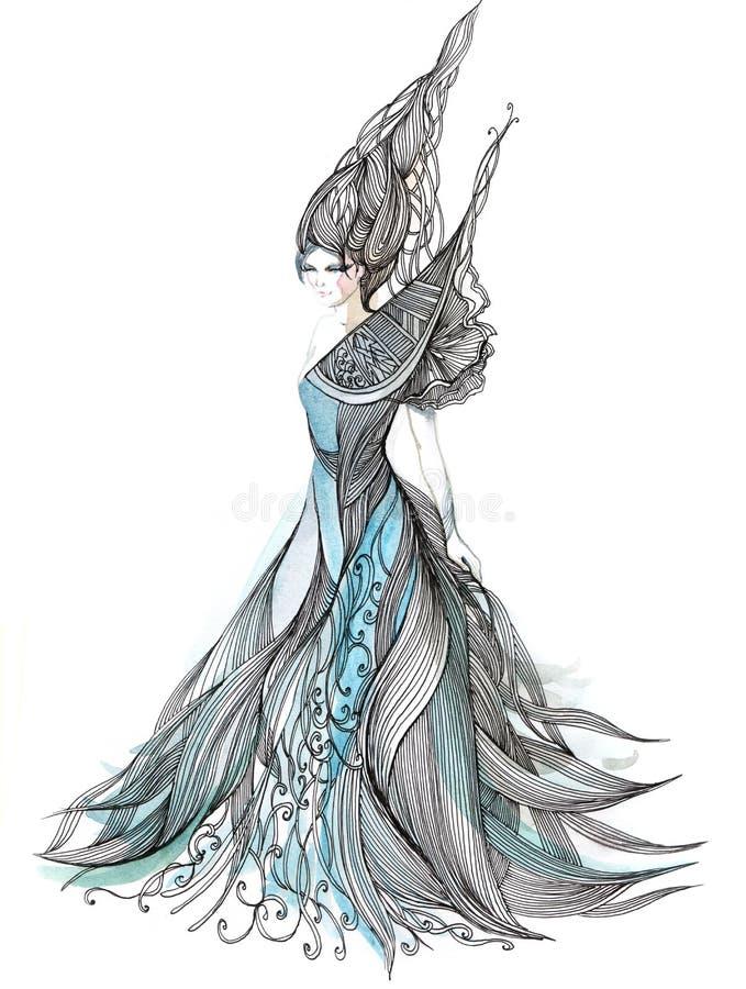Vestido de noche hermoso ilustración del vector