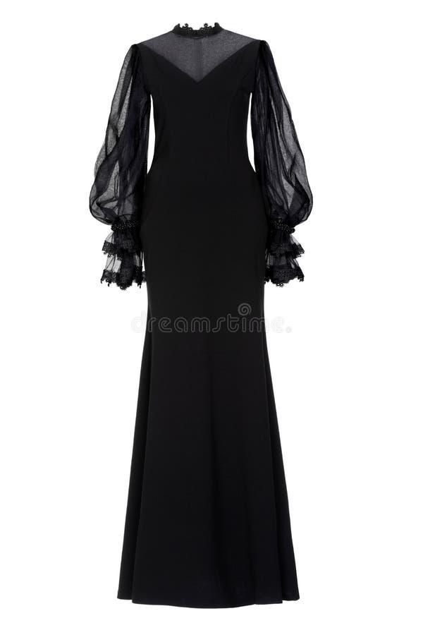 Vestido de noche largo negro en blanco imagen de archivo