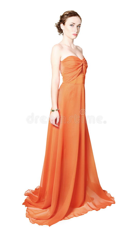 Vestido de seda desgastando modelo da mulher imagem de stock