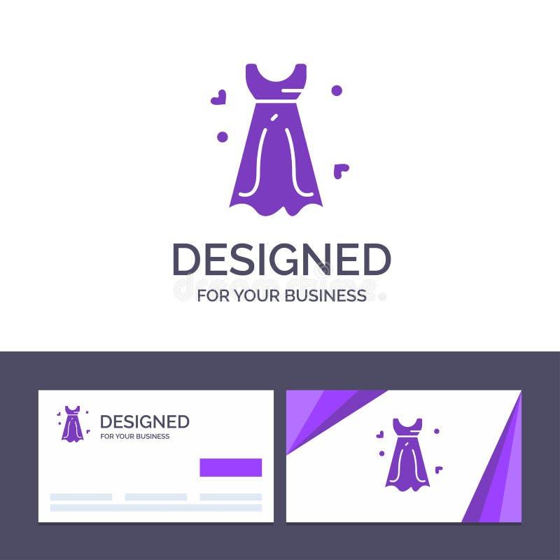 Vestido de visita de la plantilla creativa de la tarjeta y del logotipo, mujeres, vestido de boda, ejemplo del vector de la boda libre illustration