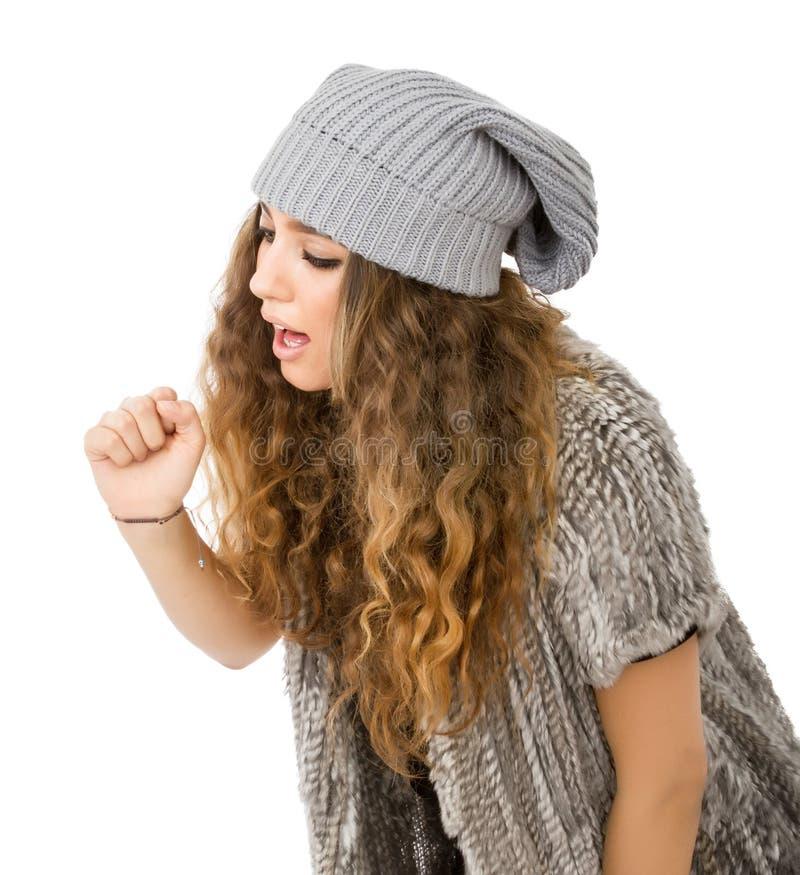 Vestido del invierno para una muchacha con gripe fotografía de archivo