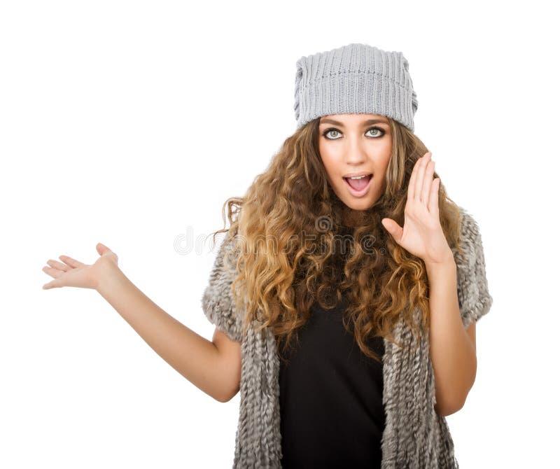 Vestido del invierno para una muchacha de la ducha fotos de archivo