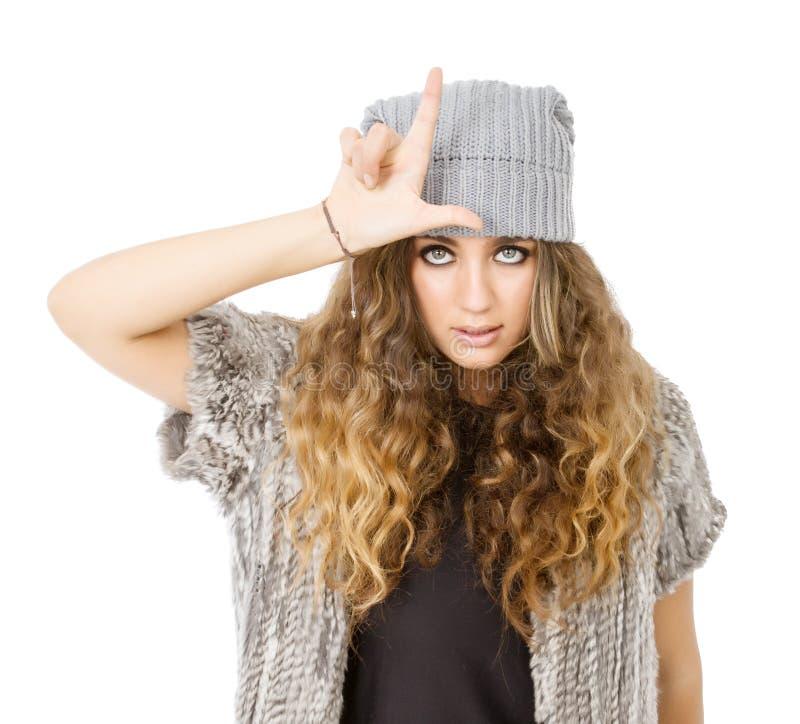Vestido del invierno para una muchacha del perdedor imágenes de archivo libres de regalías