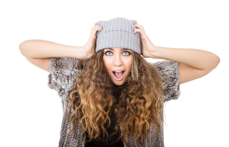 Vestido del invierno para una muchacha loca fotos de archivo libres de regalías