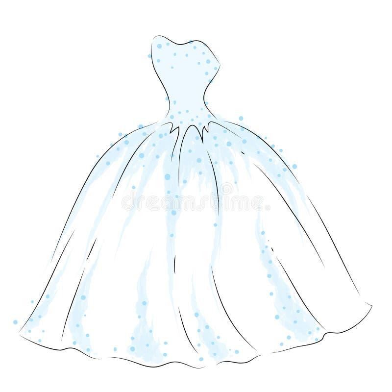Vestido delicado no vetor Vestido de casamento tirado à mão Vestido de bola ilustração royalty free