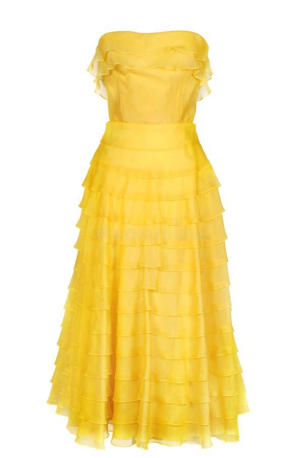 Vestido do amarelo da mulher foto de stock