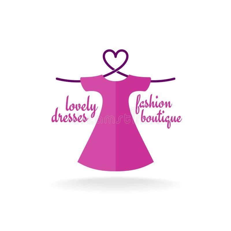 Vestido do boutique da forma com o gancho do ombro do coração ilustração do vetor