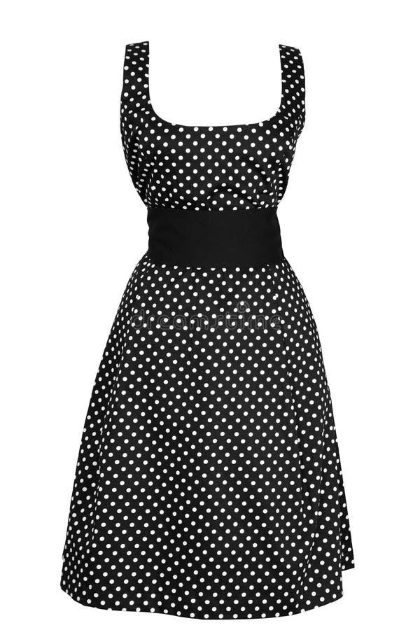 Vestido do preto da mulher no círculo branco fotografia de stock royalty free