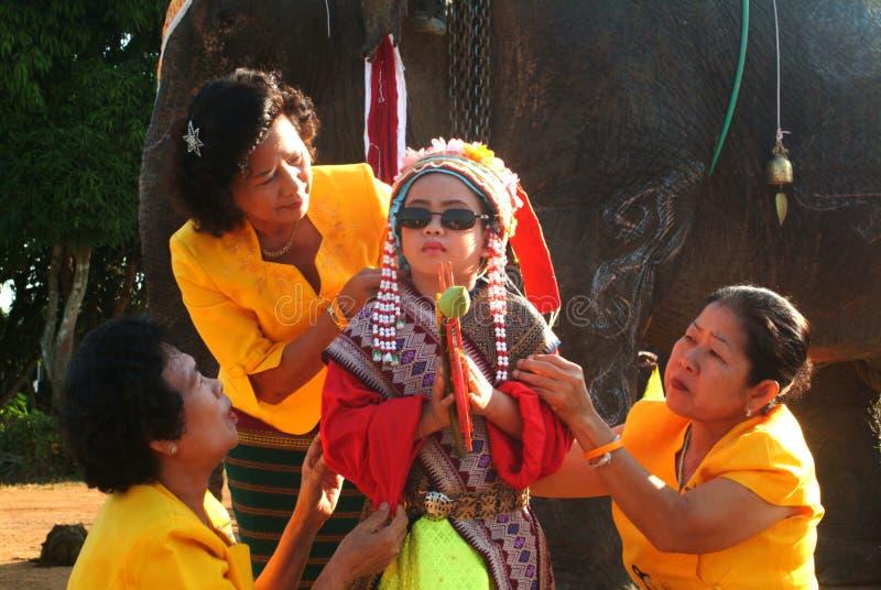 Vestido do principiante na classificação Proce da parte traseira do elefante de Satchanalai do si fotografia de stock royalty free