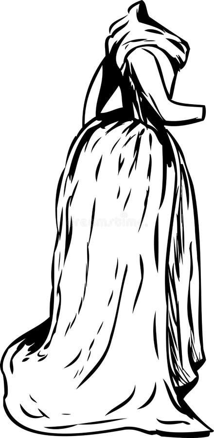 Vestido do século XVIII esboçado da era com lenço ilustração royalty free
