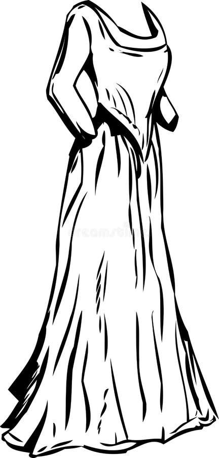 Vestido do século XVIII longo esboçado ilustração royalty free