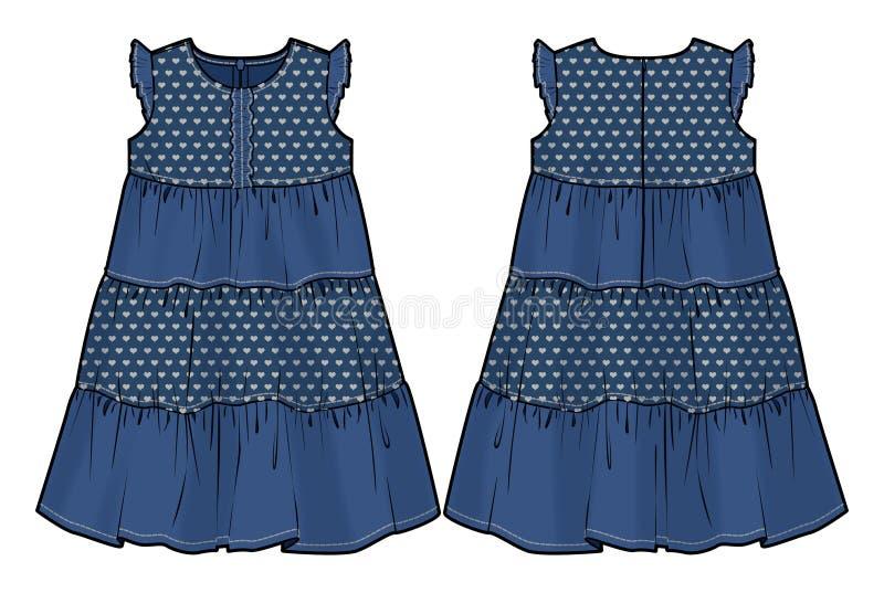 Vestido do verão da sarja de Nimes ilustração stock