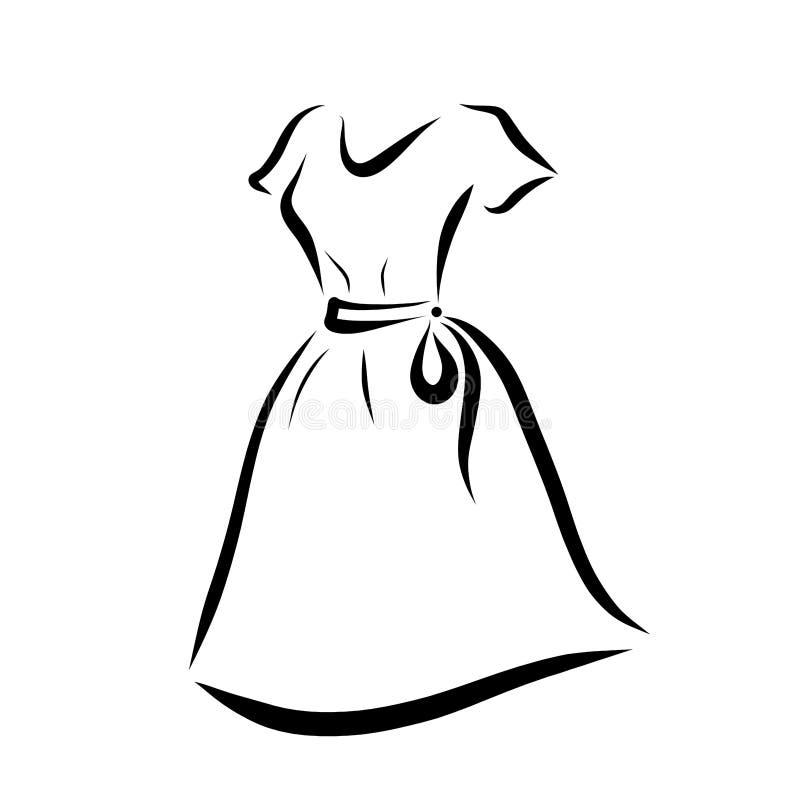 Vestido do verão das mulheres com correia ilustração royalty free