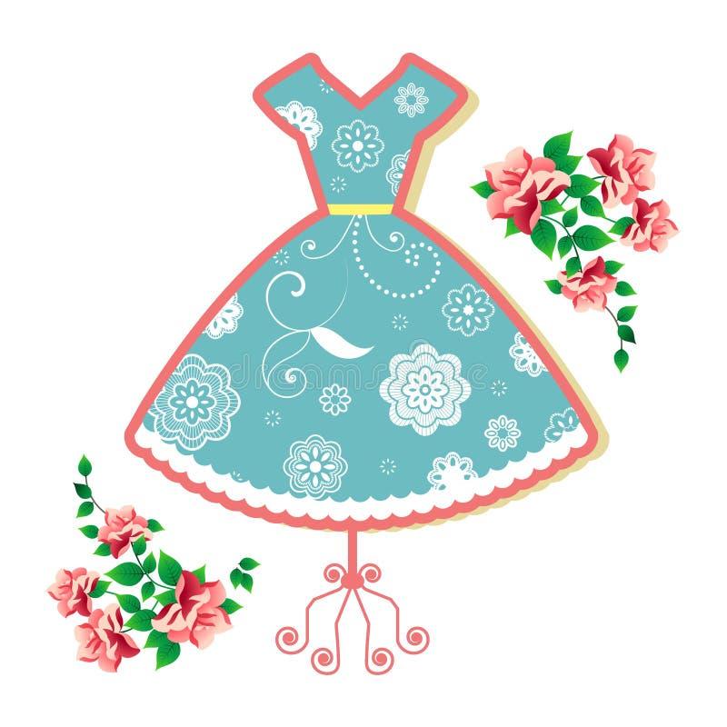 Vestido do verão do vintage ilustração stock