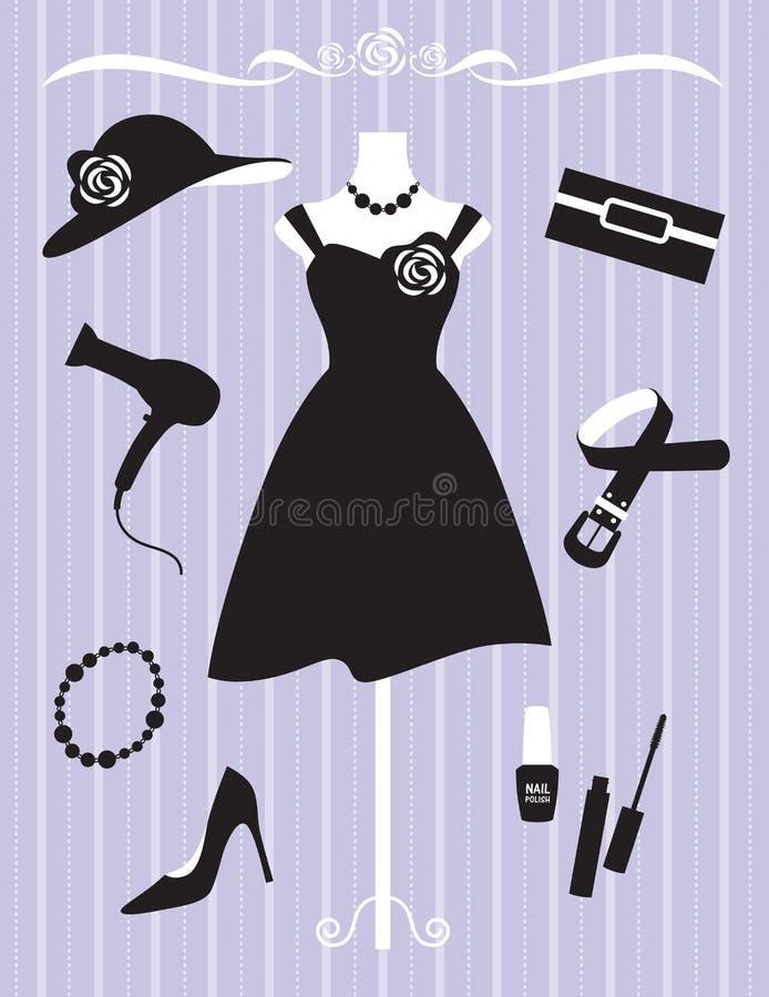 Vestido e acessórios da mulher ilustração stock