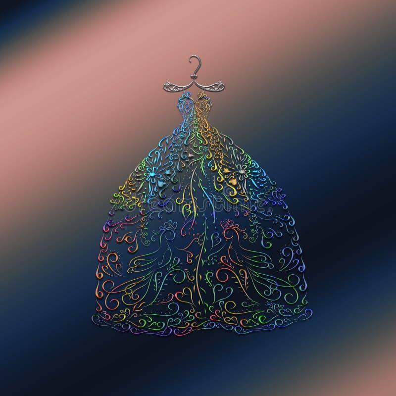 Vestido enorme mágico para la princesa, pintado con las líneas elegantes wi stock de ilustración