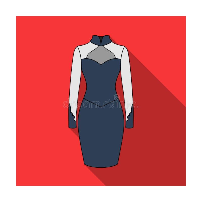 Vestido fêmea de duas cores restrito ao joelho Vestidos que trabalham o estilo Ícone da roupa das mulheres único no símbolo liso  ilustração stock
