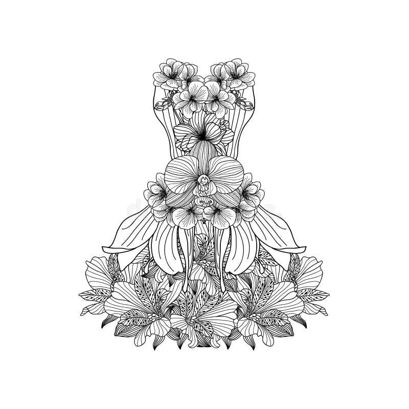 Vestido hecho de flores lineares, página del libro de colorear stock de ilustración