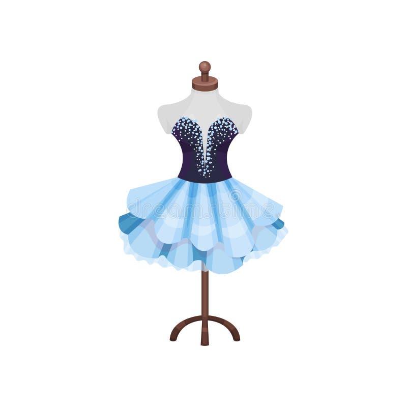 Vestido hermoso en maniquí Traje de la actriz del teatro en maniquí Artículo del vestuario Diseño plano del vector stock de ilustración