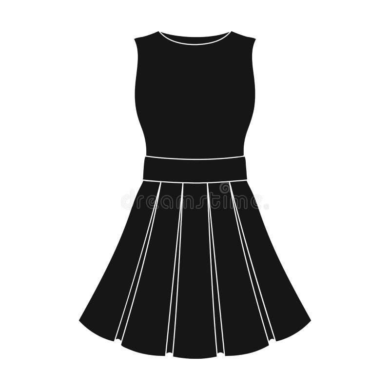 Vestido ligero hermoso del verano sin las mangas Ropa para un alza a la playa Icono de la ropa de las mujeres solo en negro ilustración del vector