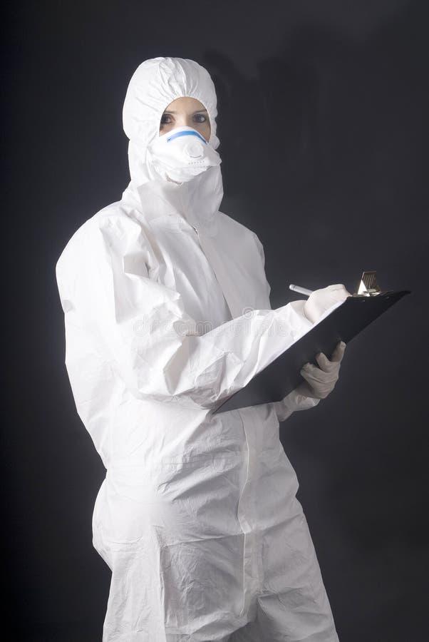 Vestido médico para o perigo biológico, os suínos ou a gripe de A foto de stock royalty free