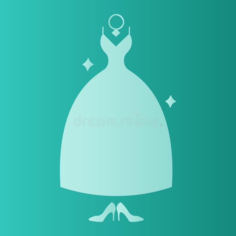 Vestido nupcial do chuveiro, cartão do convite do inverno Vestido de casamento a céu aberto Natal, partido do ano novo Ilustração ilustração do vetor