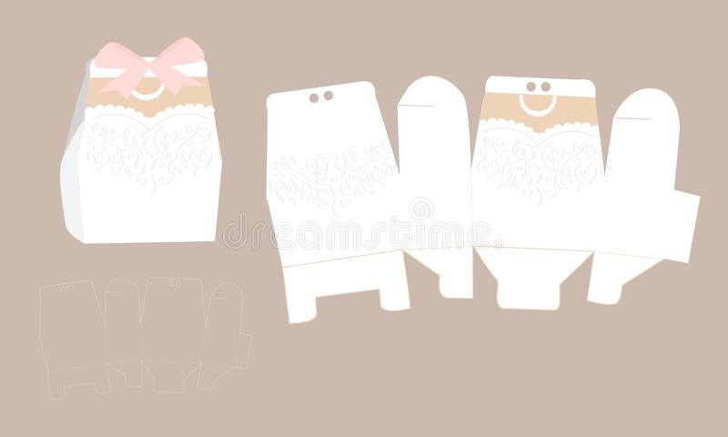 Vestido nupcial elegante con el cordón Caja del vestido de boda ilustración del vector